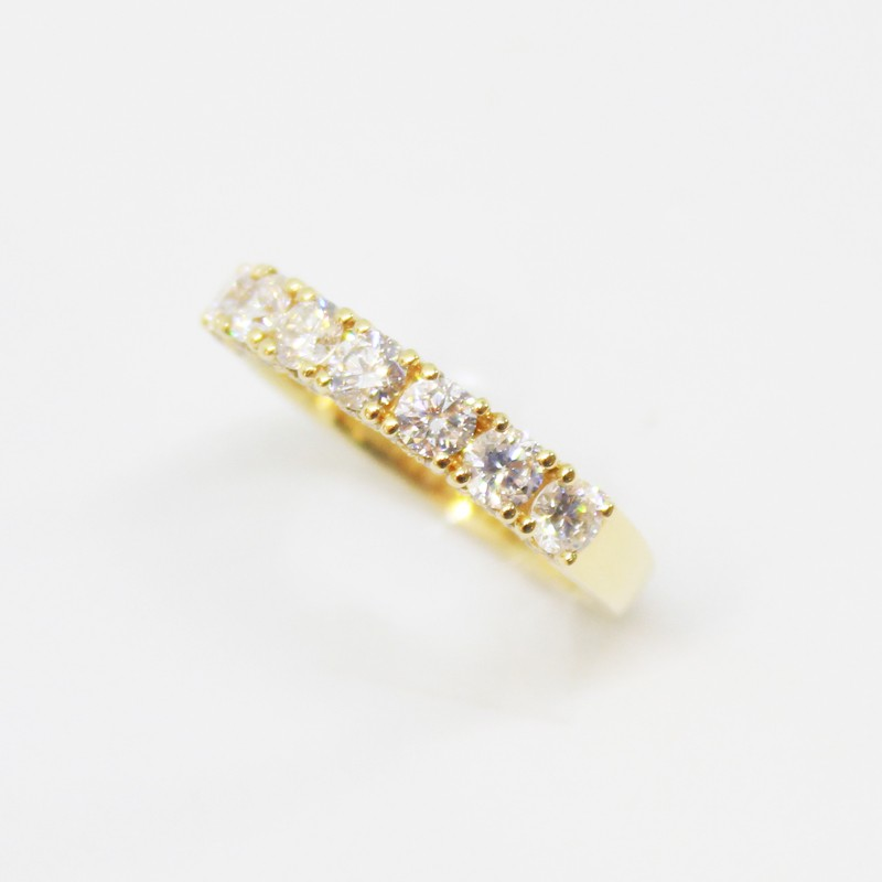 ANILLO MEDIO CINTILLO DE ORO BLANCO CON BRILLANTE 1.24CT