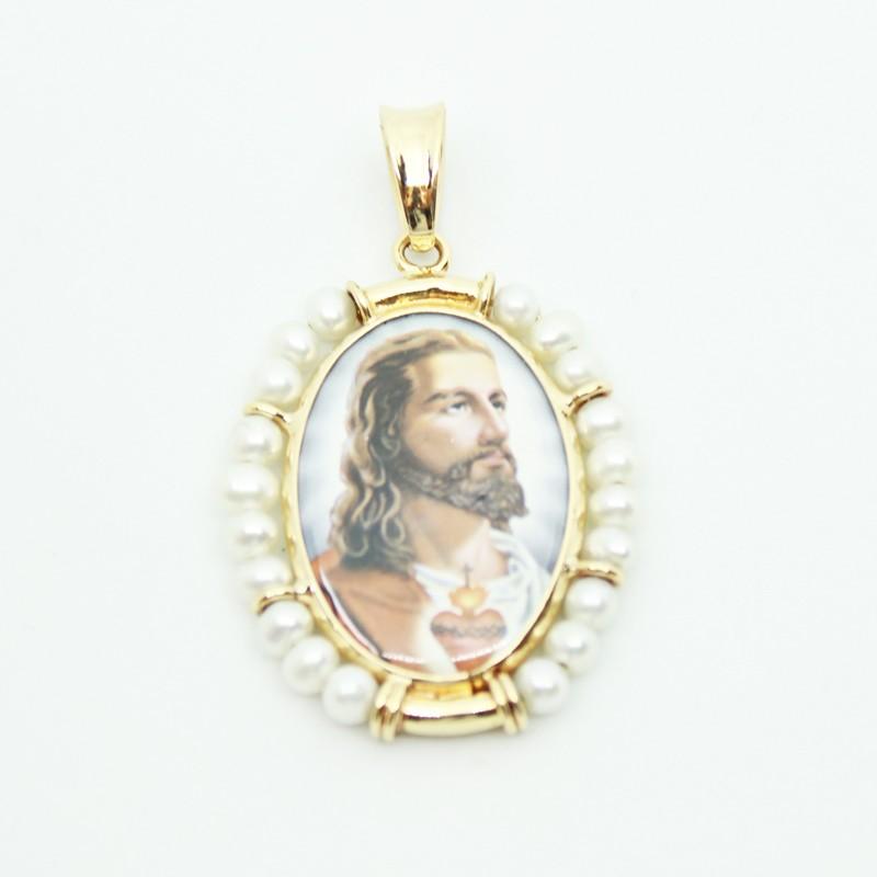 DIJE DE ORO AMARILLO CORAZÓN DE JESUS EN PORCELANA