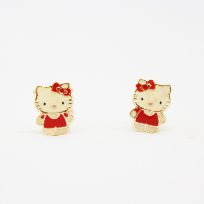 ARETES ORTOPEDICOS ORO AMARILLO HELLO KITTY